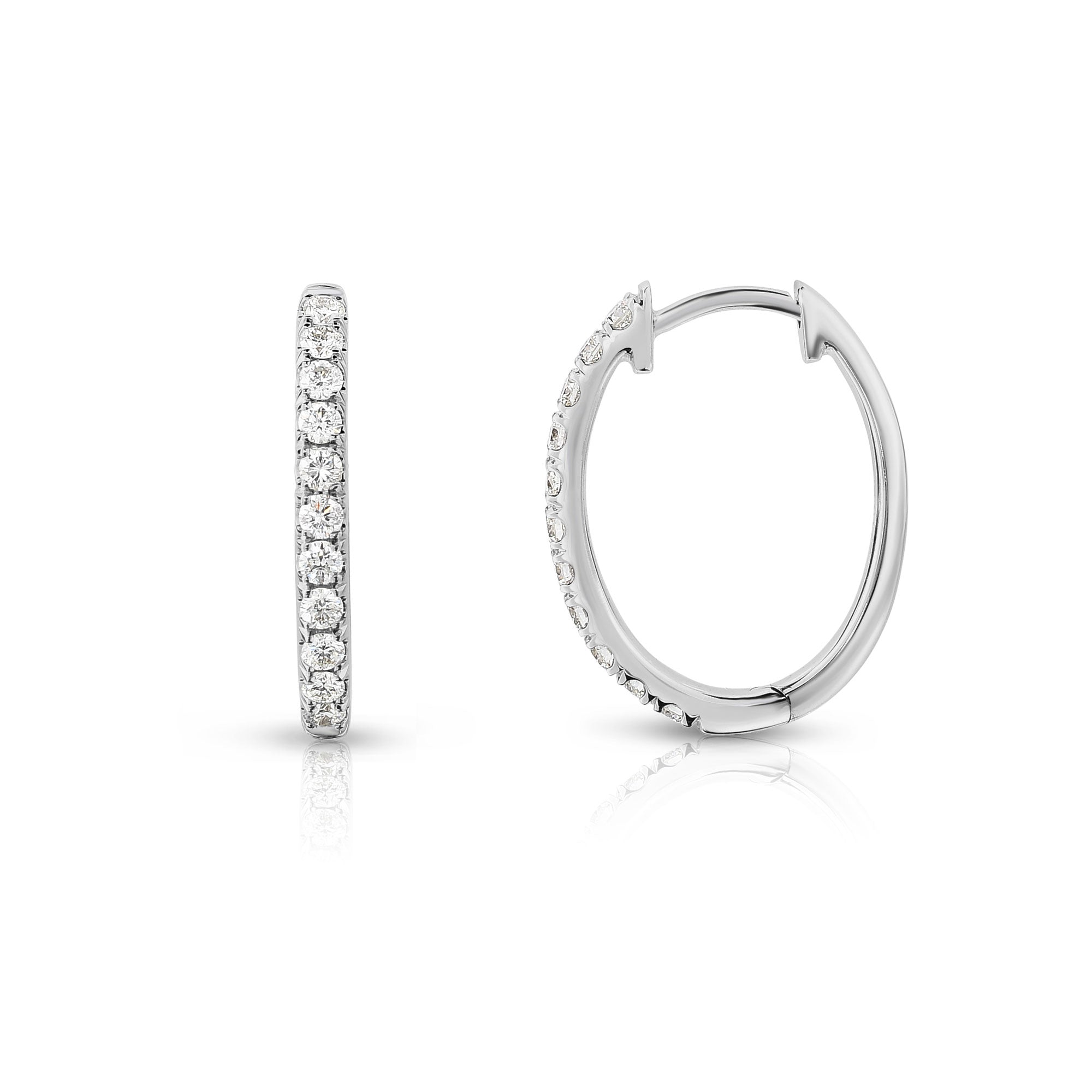 Oval Shape Diamond Hoop Earrings, .33 Carat, 14K White Gold