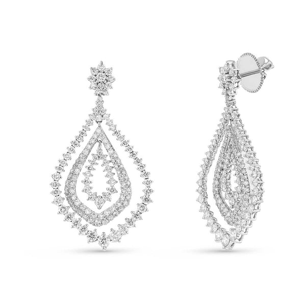 Diamond Chandelier Earrings, 2.85 Carats, 14K White Gold