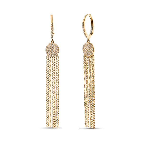 Diamond Disk and Chain Tassel Earrings, 14K Yellow Gold