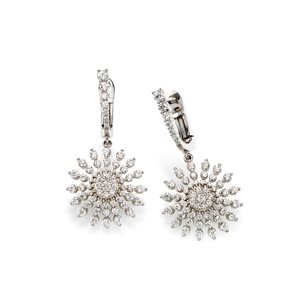Diamond Starburst Dangle Earrings, 14K White Gold