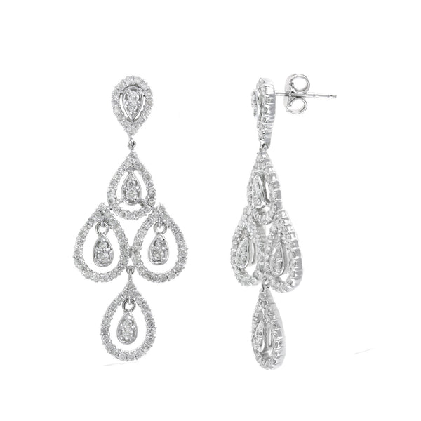 Diamond Chandelier Earrings, 2.30 Carats, 14K White Gold