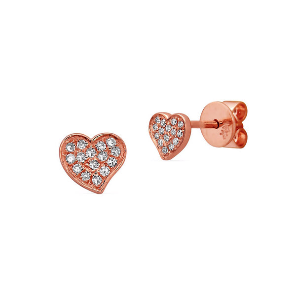 Pavé Diamond Heart Stud Earrings, 14K Rose Gold