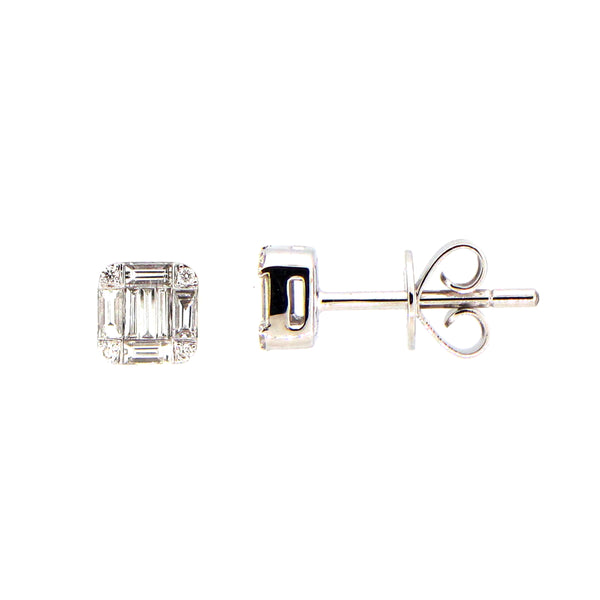 Baguette and Round Diamond Stud Earrings, 14K White Gold