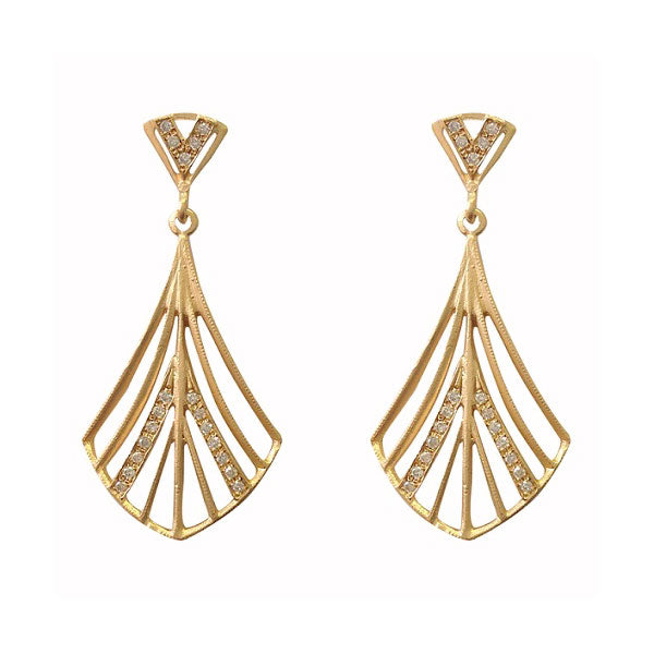 Fan Design Diamond Dangle Earrings, 14K Yellow Gold