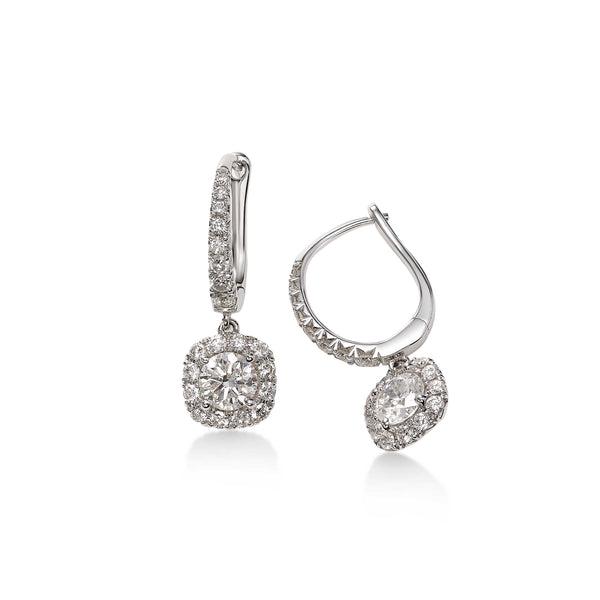 Large Diamond Halo Dangle Earrings, 14K White Gold