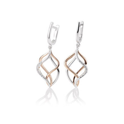 Two Tone Open Design Diamond Dangle Earrings, 14 Karat Gold