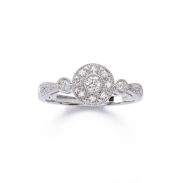 Pave and Bezel Diamond Ring, 14K White Gold