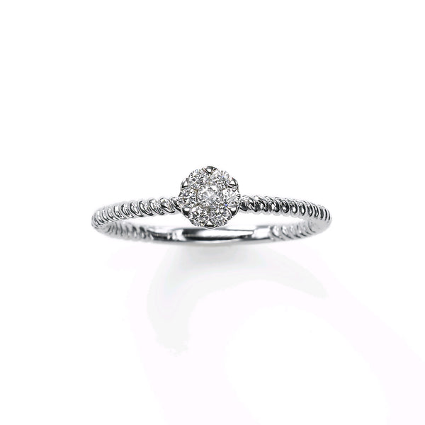 Petite Pavé Diamond Cluster Ring, 14K White Gold