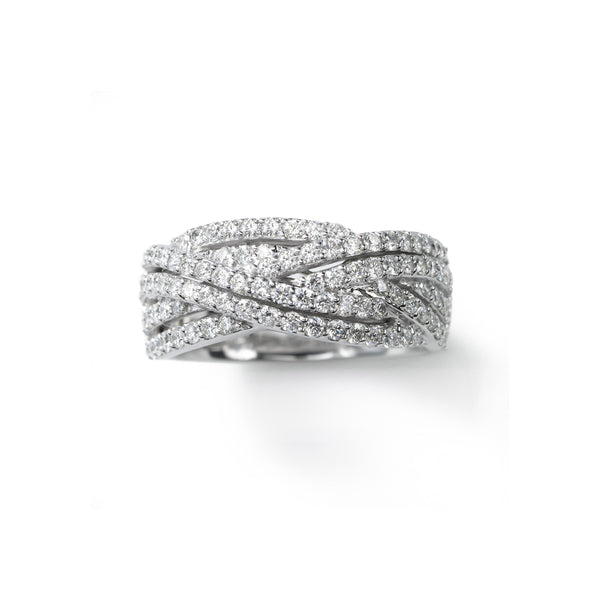 Double Weave Diamond Band, 1 Carat, 14K White Gold