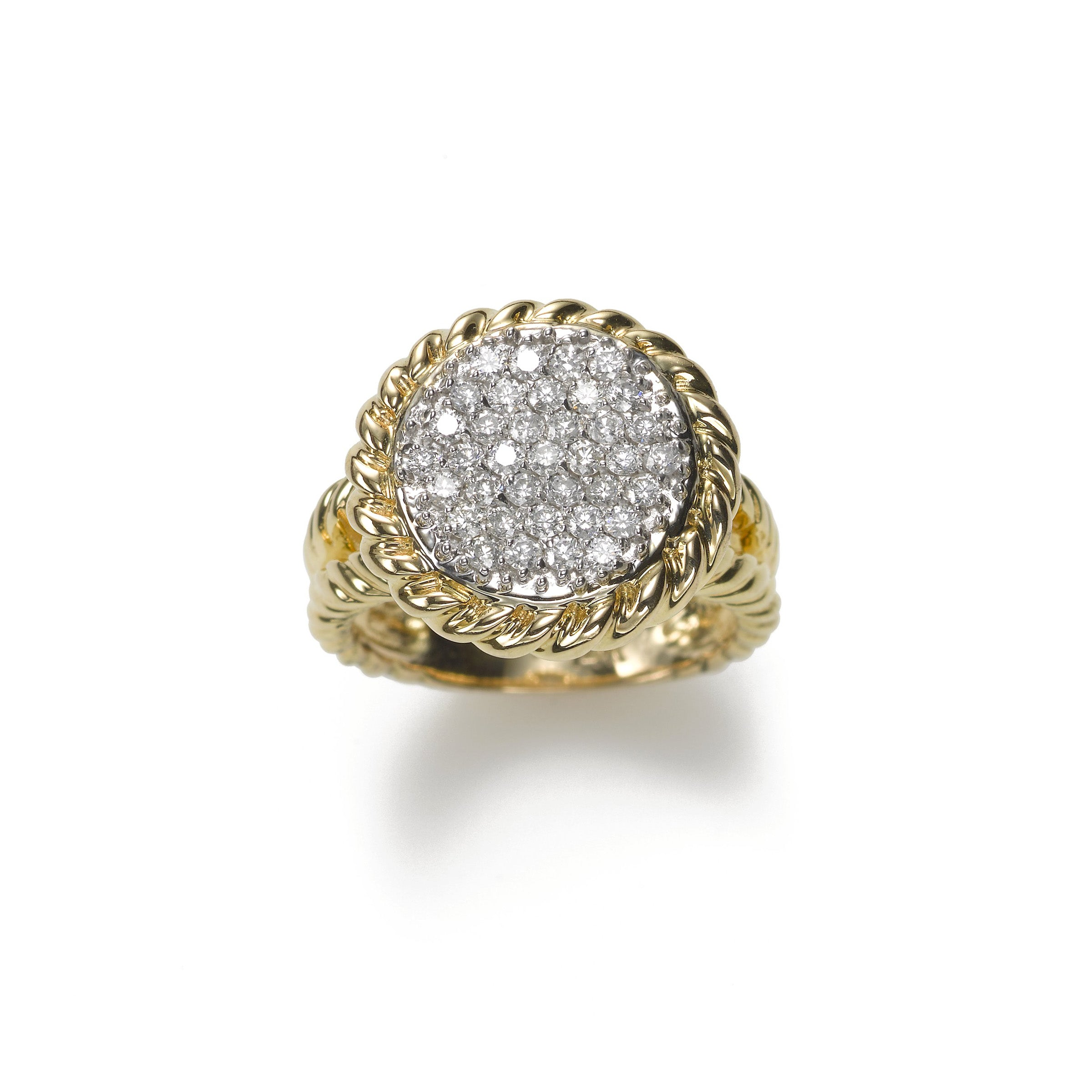 Diamond Pave Circle Ring, .60 Carat, 14K Gold