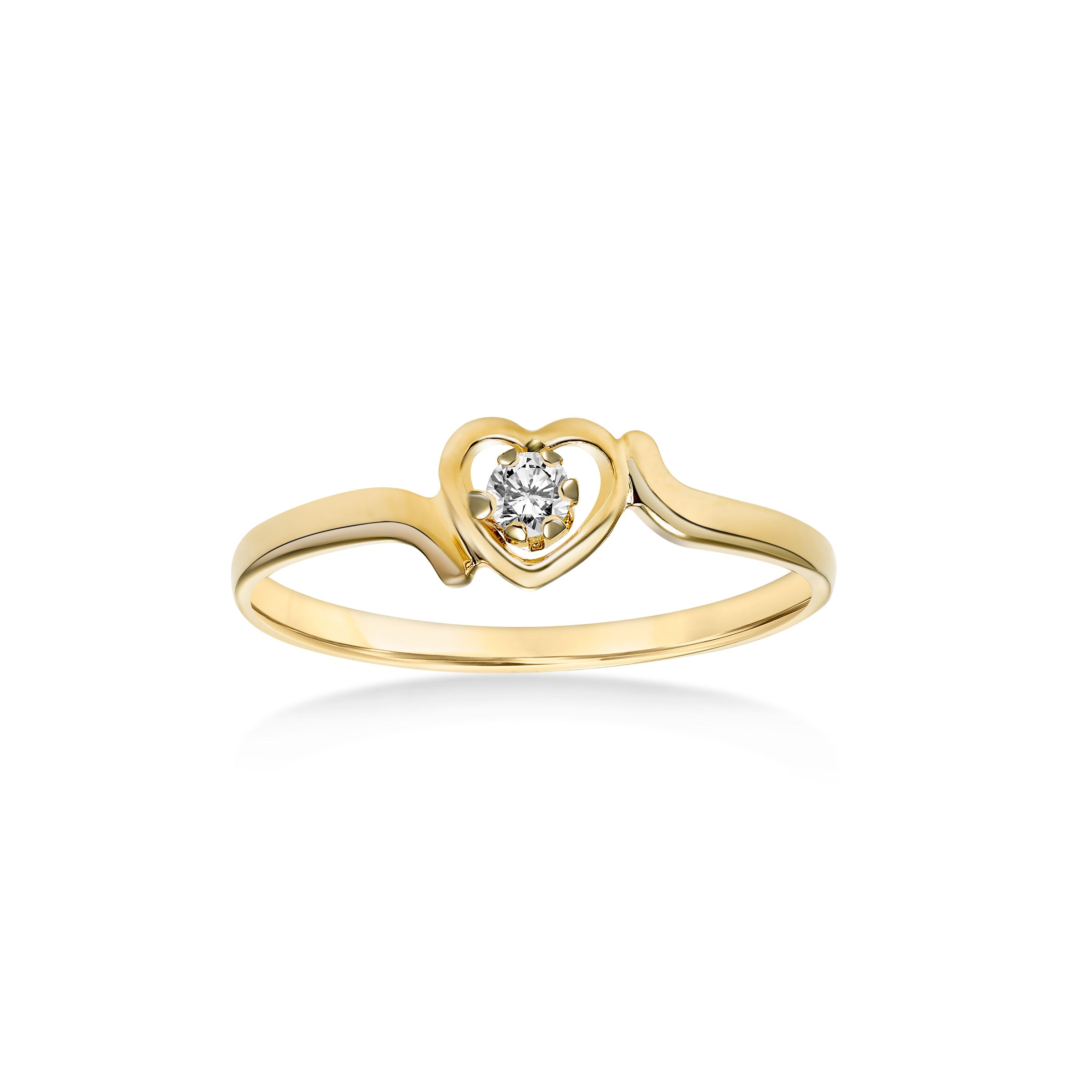 Heart Design Ring with Diamond Center, 14K Yellow Gold