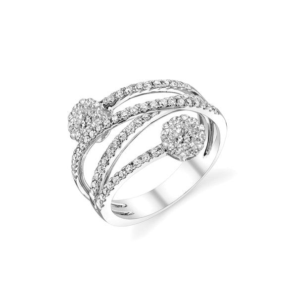 Double Cluster Criss Cross Diamond Ring, 14K White Gold