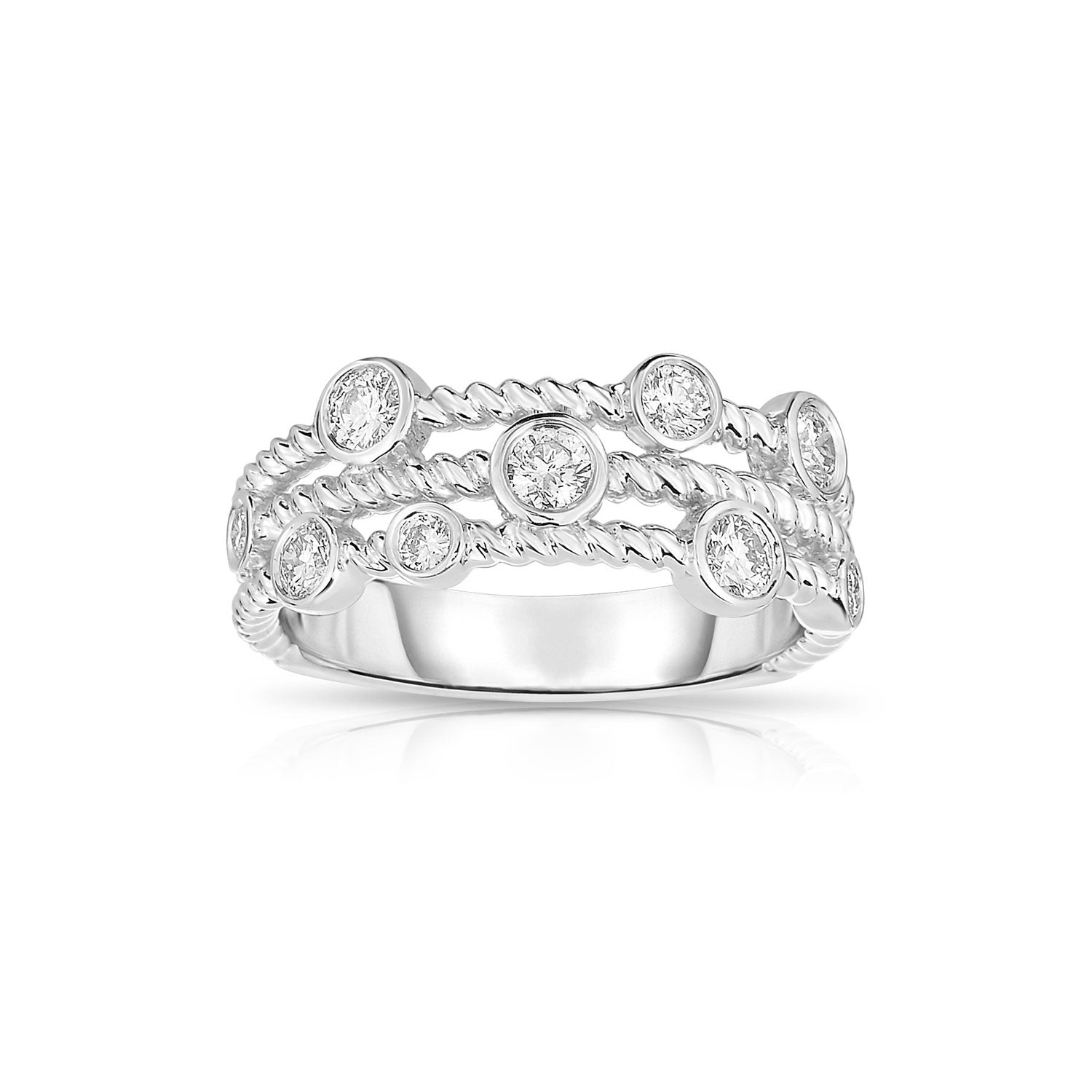 Three Strand Rope Design Diamond Ring, 14K White Gold