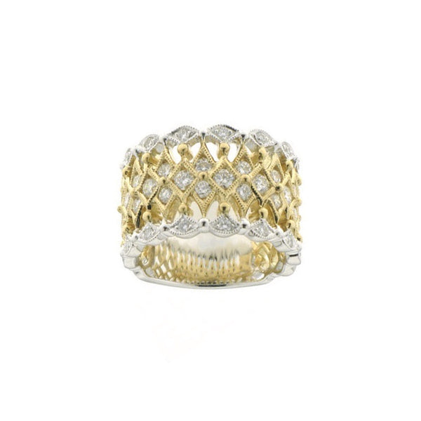 Two Tone Openwork Diamond Ring, 14 Karat Gold