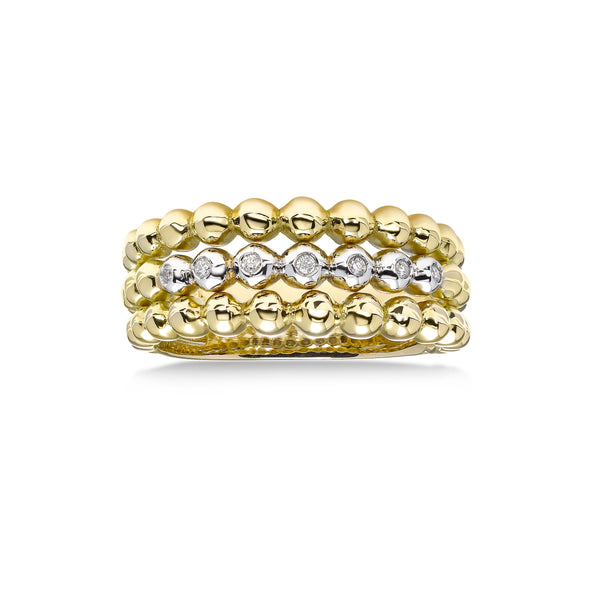 Two Tone Beaded Diamond Ring, 18 Karat Gold