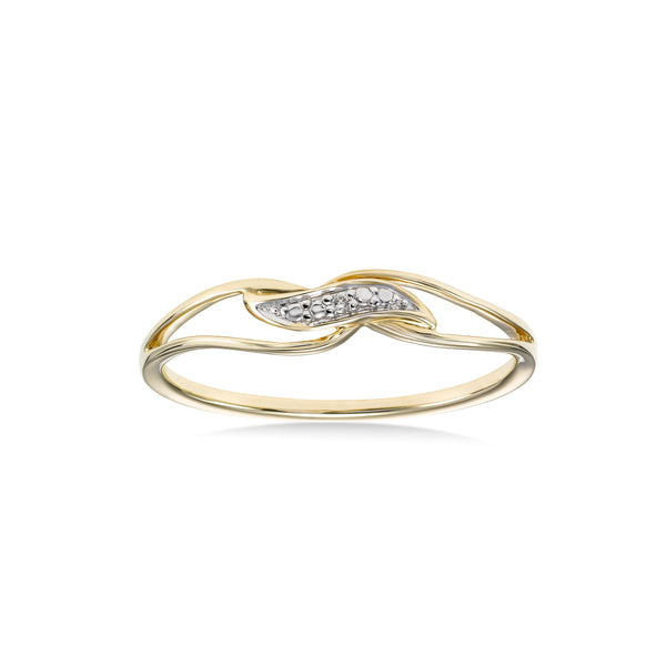 Petite Diamond Swirl Ring, 14 Karat Gold