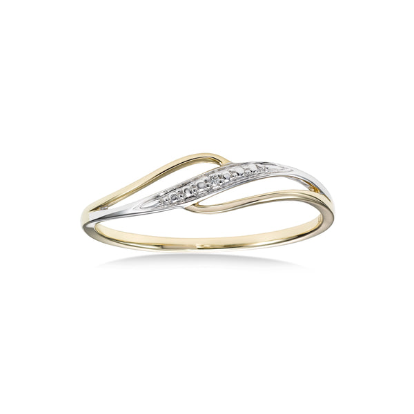 Two Tone Diamond Swirl Ring, 14 Karat Gold