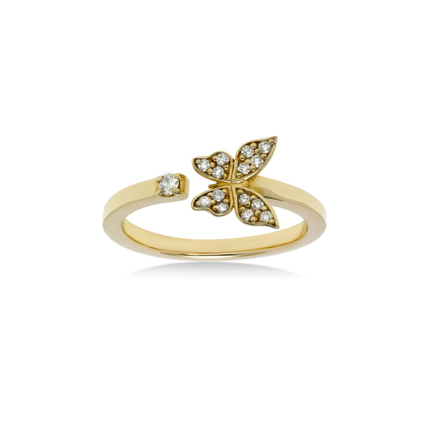 Petite Pavé Diamond Butterfly Ring, 14K Yellow Gold