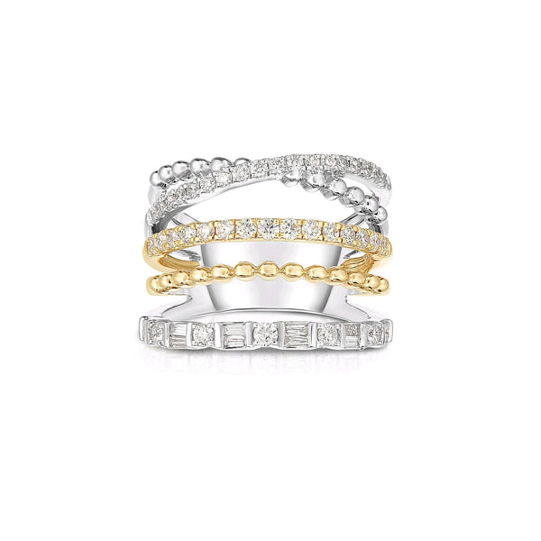 Two Tone Multi Band Diamond Ring, 14K Yellow Gold