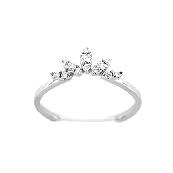 Diamond Fan Ring, 14K White Gold