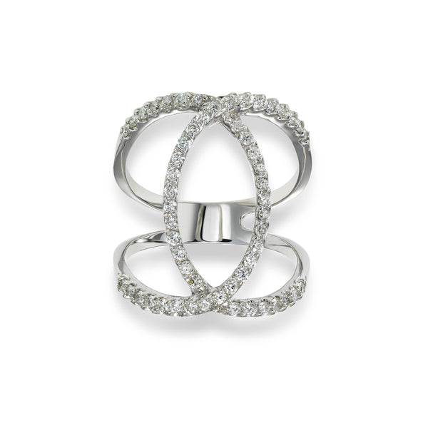 Open Interclocking Design Diamond Ring, 14K White Gold