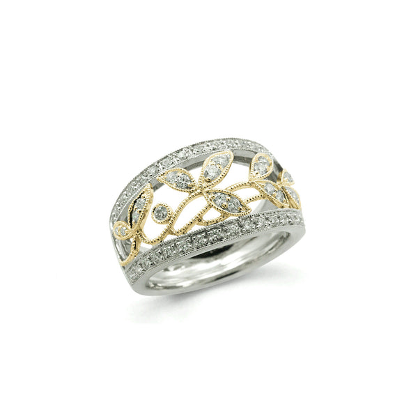 Two Tone Open Design Diamond Band, .51 Carat, 14 Karat Gold