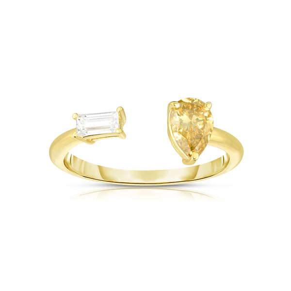 Fancy Yellow and Near-Coloress Diamond Ring, 14K Yellow Gold