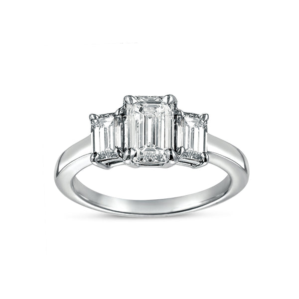 Emerald Cut Three Stone Diamond Ring, Platinum