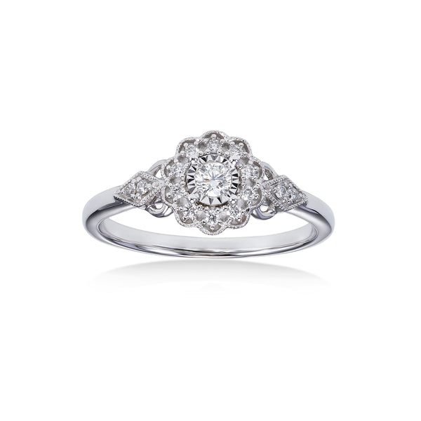 Flower Design Diamond Flower Ring, 14K White Gold