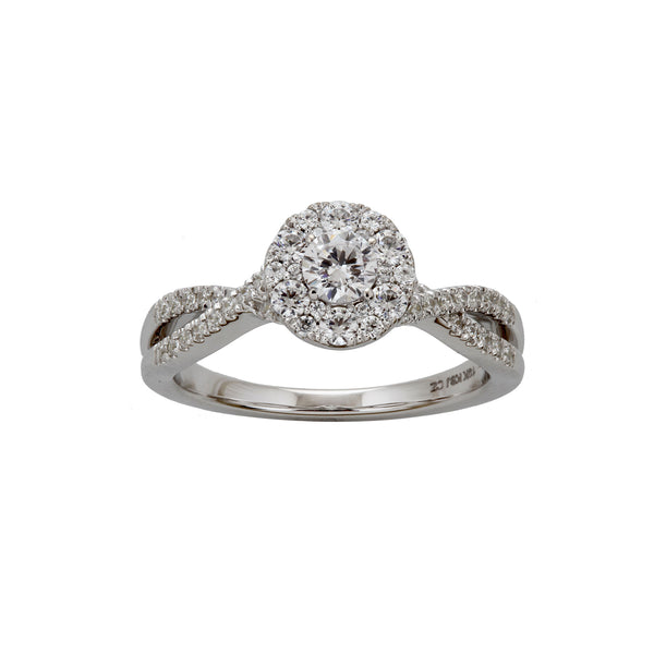 Round Diamond with Halo Ring, 14K White Gold
