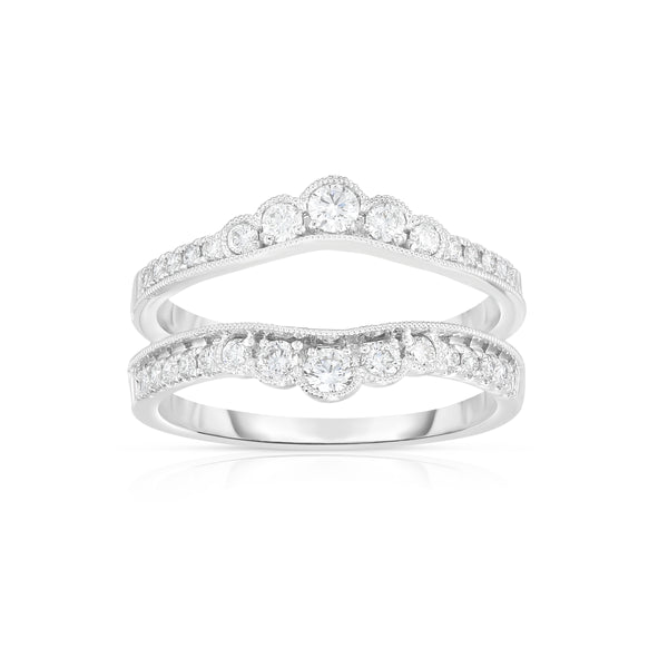 Vintage Design Diamond Insert Ring, .50 Carat, 14K White Gold
