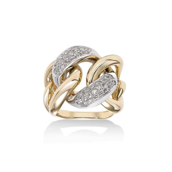 Bold Pavé Diamond Linke Ring, 14 Karat Gold