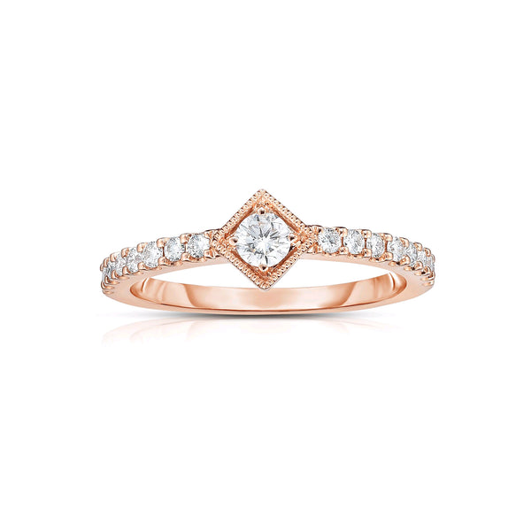 Square Framed Center Diamond Ring, 14K Rose Gold