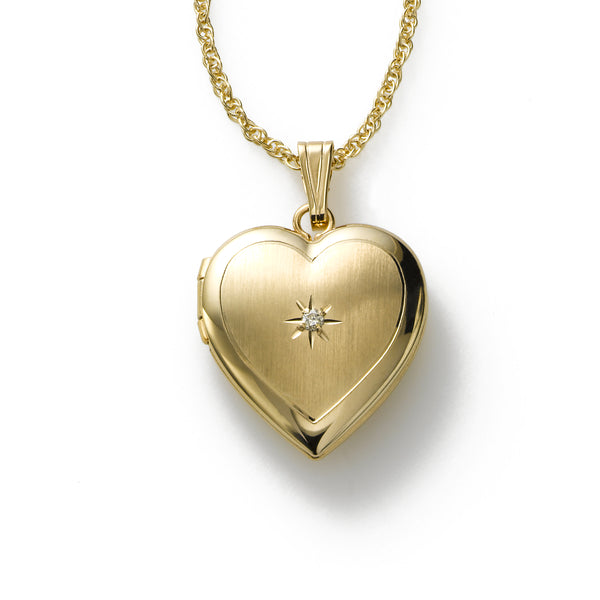 Heart Locket with Diamond Accent, 14K Yellow Gold