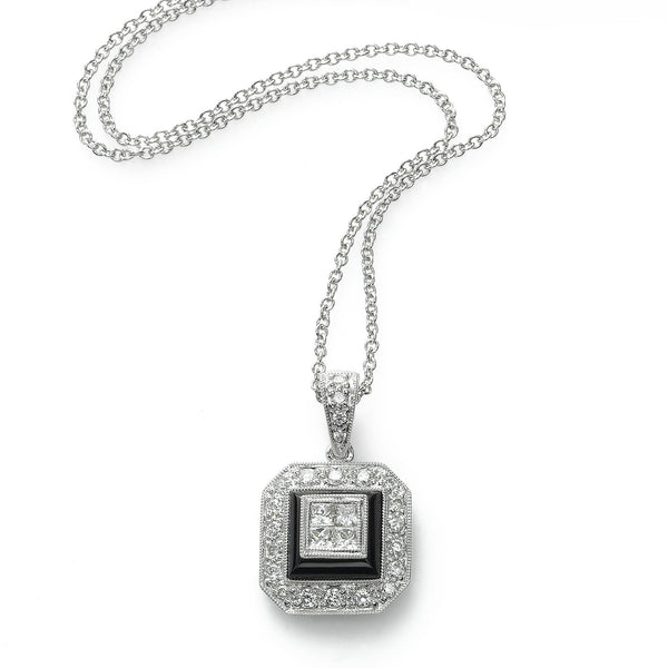 Vintage Style Diamond Pendant, Black Agate, 18K White Gold