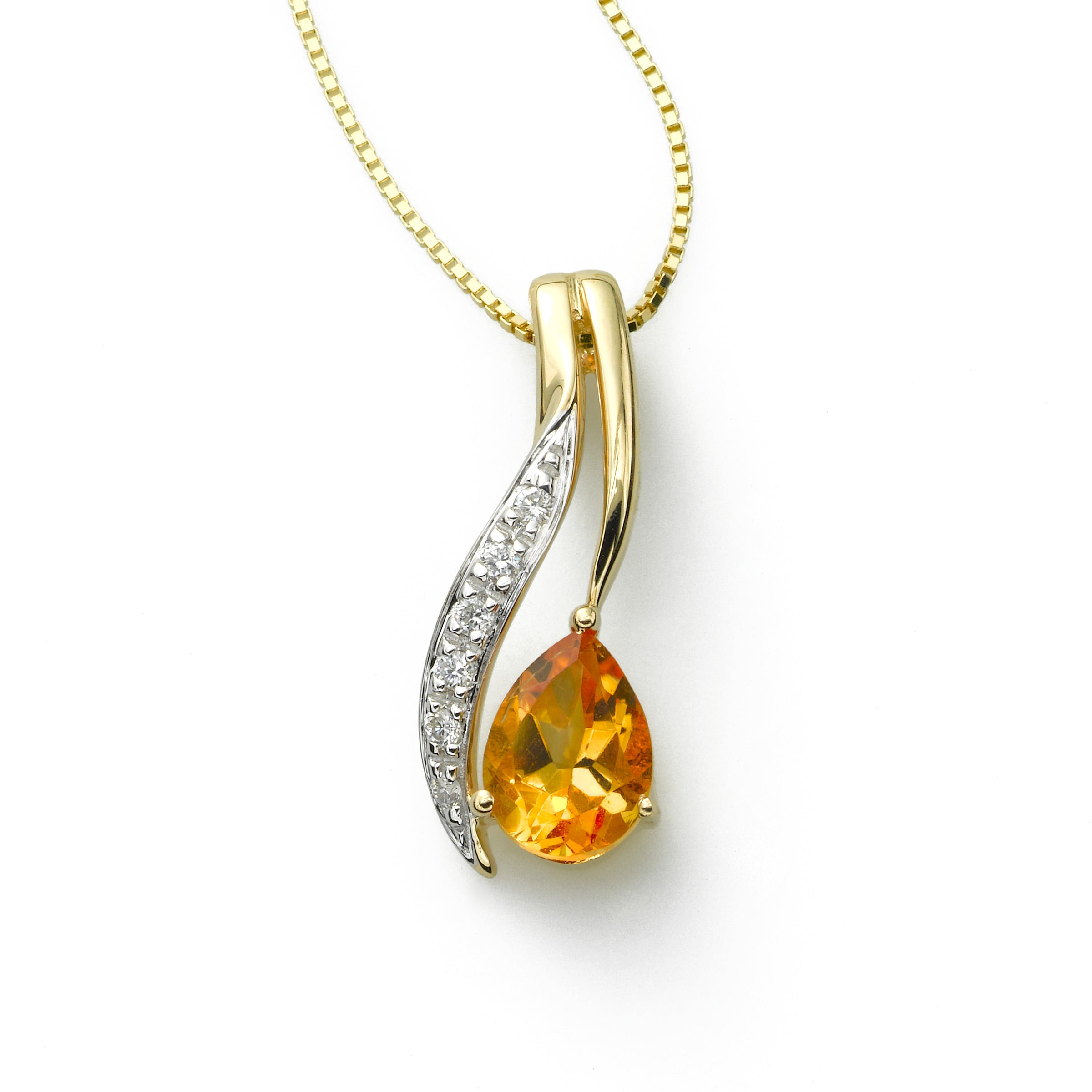 Citrine and Diamond Pendant, 14K Yellow Gold