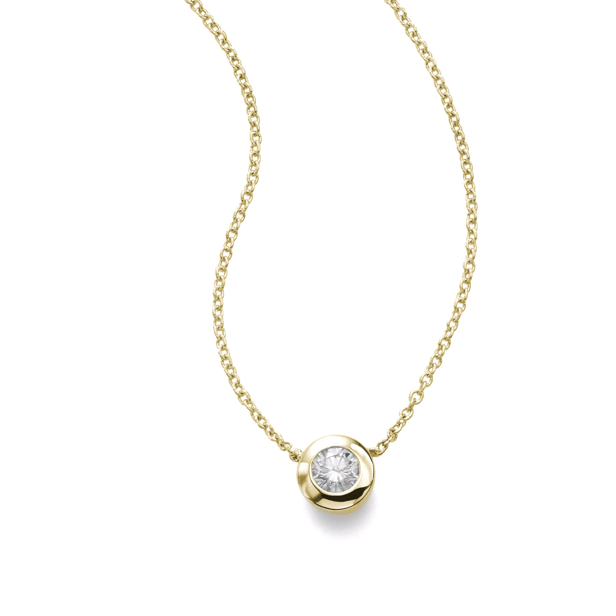 Single Diamond Pendant, Bezel Set, 14K Yellow Gold