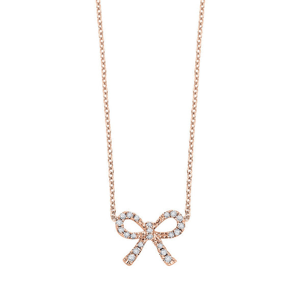 Diamond Bow Necklace, .10 Carat, 14K Rose Gold