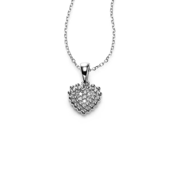 Small Pavé Diamond Heart Pendant, 14K White Gold