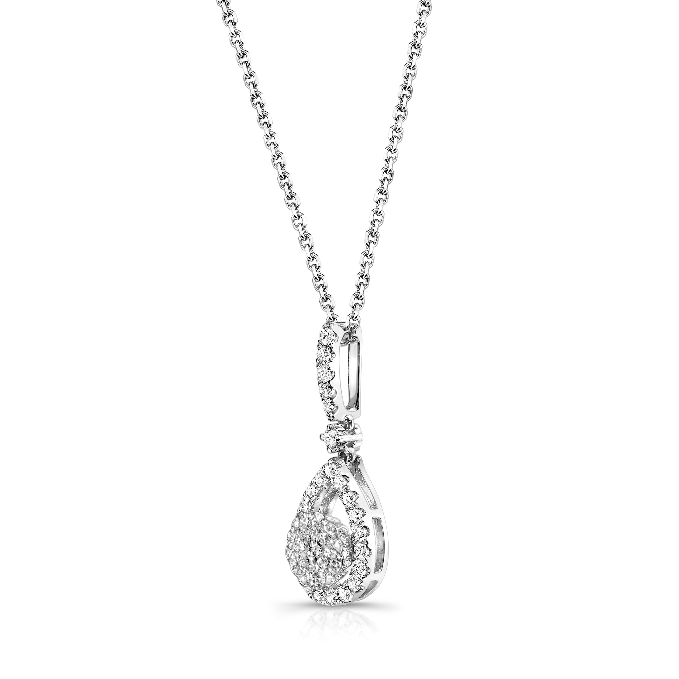 Drop Shape Diamond Cluster Pendant, 14K White Gold