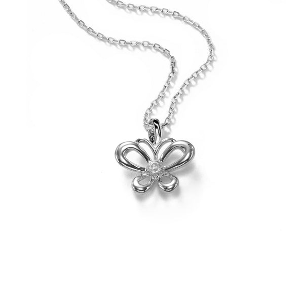 Petite Butterfly Pendant, Diamond Accent, 14K White Gold