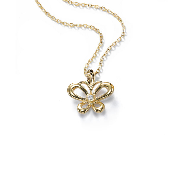 Petite Butterfly Pendant, Diamond Accent, 14K Yellow Gold