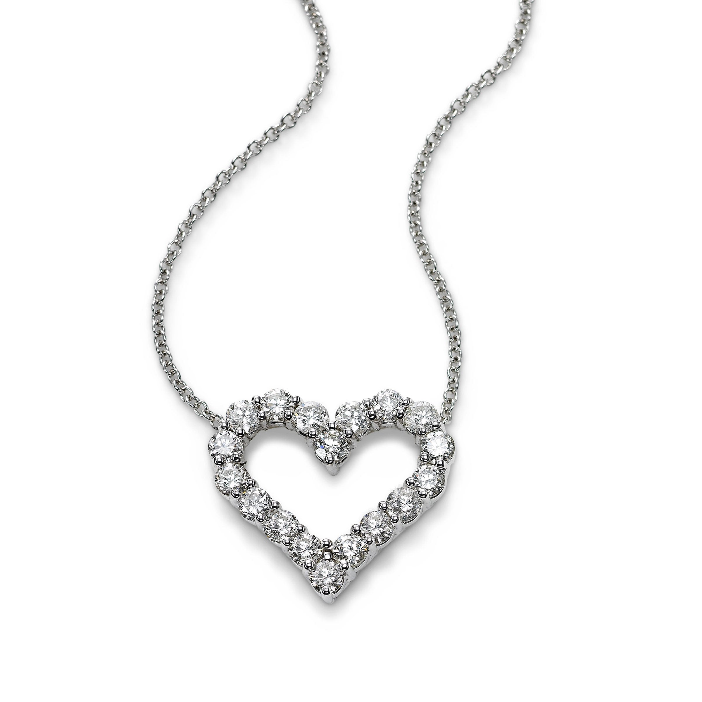 Open Heart Diamond Pendant, 1.80 Carats, 14K White Gold