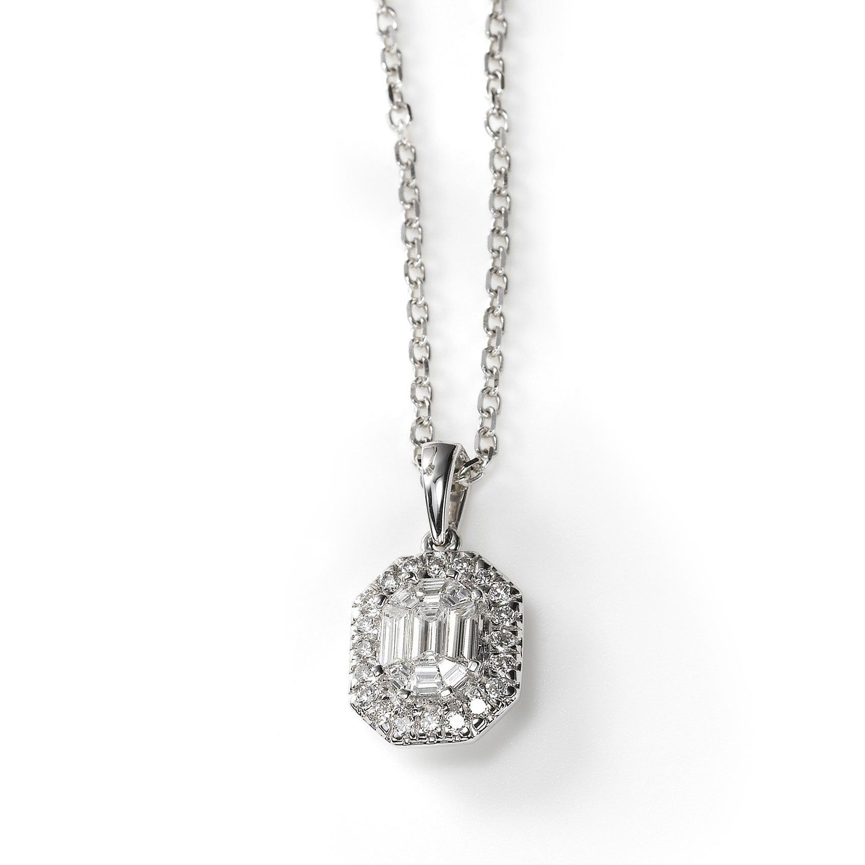 Emerald Cut Diamond Pendant with Halo, 14K White Gold
