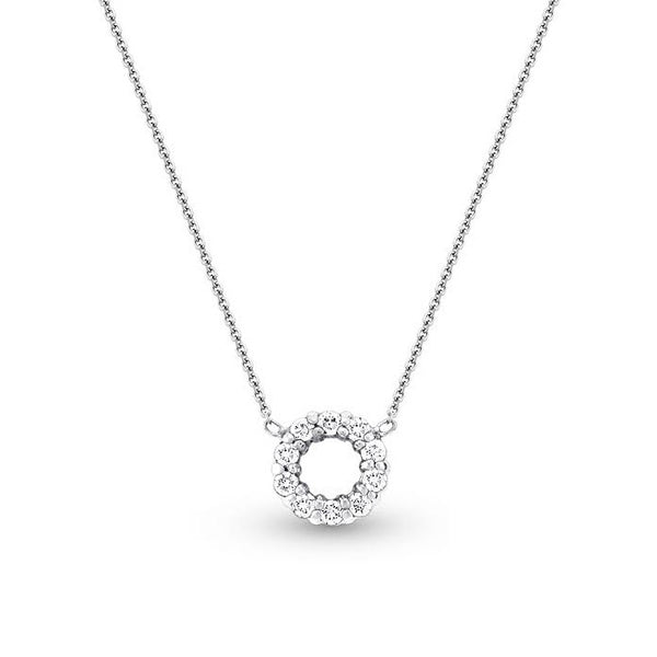 Small Open Circle Diamond Necklace, 14K White Gold