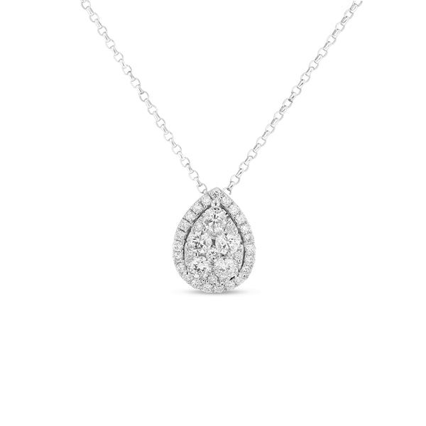 Pavé Diamond Drop Pendant, 18K White Gold