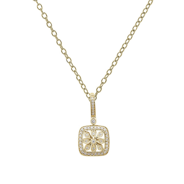 Floral Diamond Pendant, 14K Yellow Gold