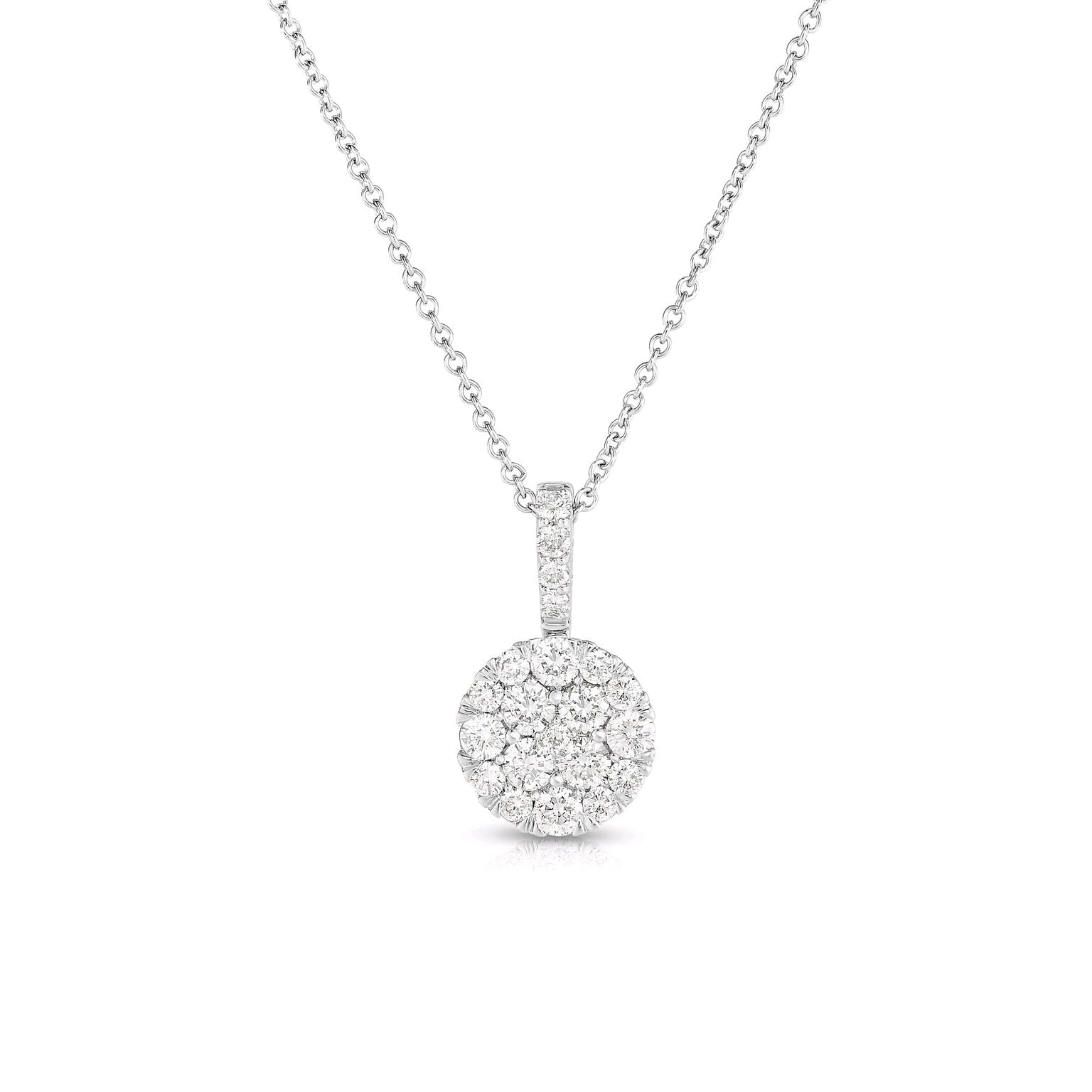 Diamond Cluster Pendant, .75 Ct, 14K White Gold