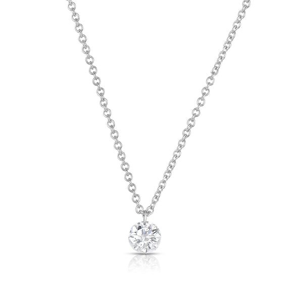 Single Diamond Drop Necklace, 14K White Gold