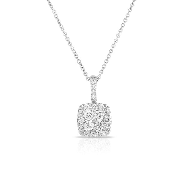 Square Diamond Cluster Pendant, 14K White Gold